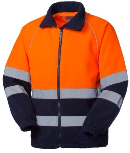 High visibility fleece with double reflective band to the waist, closure with veltre, certified EN 20471. Colour orange/blue