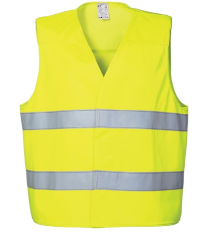 High visibility vest with double reflective band to the waist, closure with veltre, certified EN 20471. Colour Yellow
