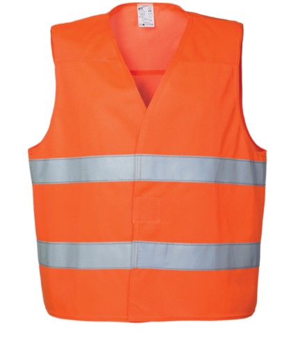 High visibility vest with double reflective band to the waist, closure with veltre, certified EN 20471. Colour orange