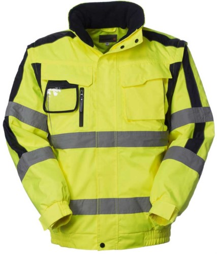 High visibility Pilot jacket with detachable sleeves, badge holder, concealed hood, double band on sleeves and waist, certified EN 343, EN 20471. Colour yellow