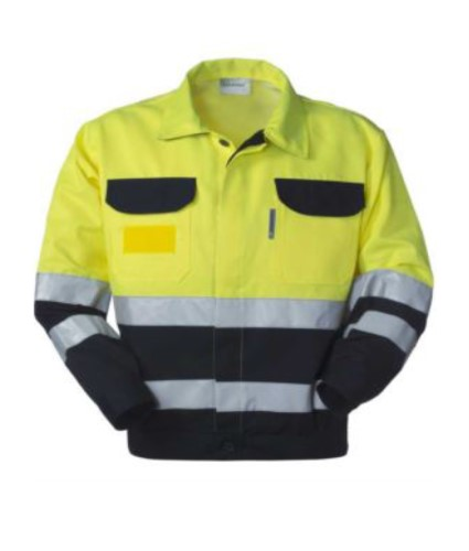 High visibility jacket with shirt collar, chest pockets, double band at the waist and sleeves, certified EN 20471, color yellow/blue