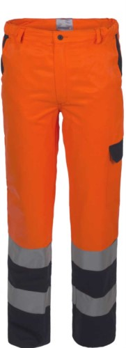 Two-tone high visibility trousers with double band on the bottom of the leg, certified EN 20471,color orange/blue