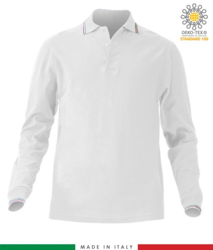 Long sleeved tricolour pique polo shirt, side vents, three matching buttons, made in Italy, colour white