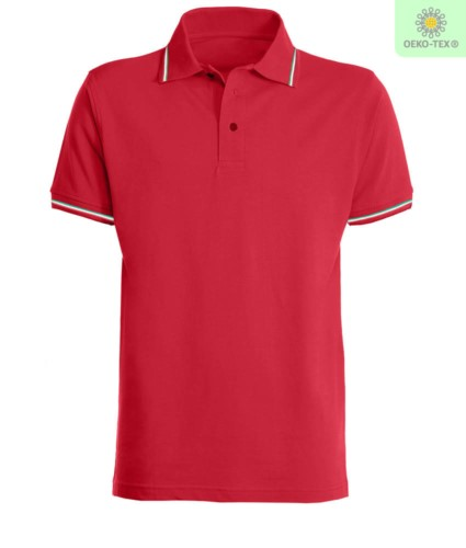 Polo pique tricolor short sleeve, side vents, three buttons in the same color, made in italy, color red