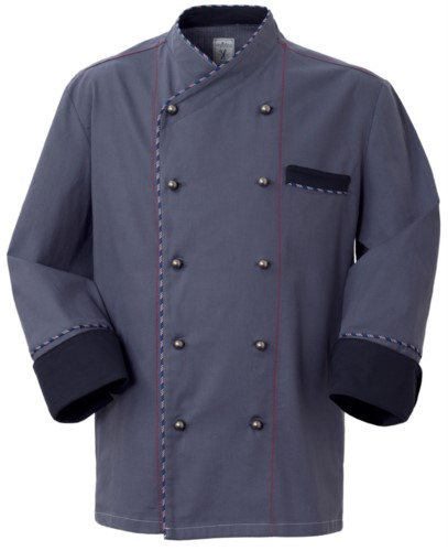 Chef jacket, front closure with double breasted buttons, left side pocket, three-quarter length sleeve, color grey