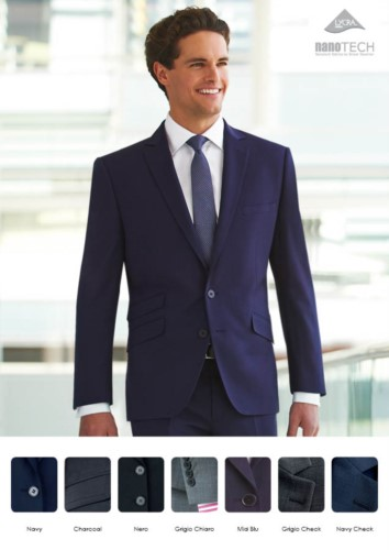 Elegant uniform jacket with two button closure, polyester fabric and wool, with stain-resistant treatment. Wholesale only. Get a free quote.