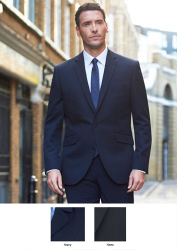 Men's jacket for elegant work uniform, one-button closure. Polyester and viscose fabric with atimacchia treatment. Get a free quote.