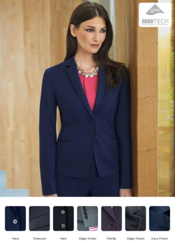 Elegant slim fit women jacket, fabric with stain resistant properties.