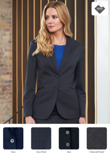 Elegant tailored women's jacket in polyester and viscose. Fabric with stain-resistant treatment.