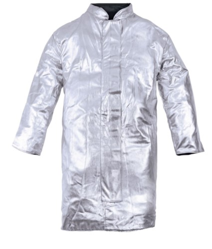 One-layer unlined approach coat, Korean collar, velcro closure, silver colour, certified EN 11612:2009