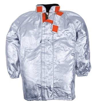 Lined approach jacket, raglan sleeves, elasticated cuffs, velcro closure, silver colour, certified EN 11612:2009