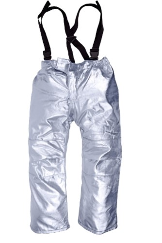 Lined approach pants, heat protection, adjustable suspenders, certified EN 11612:2009, colour silver