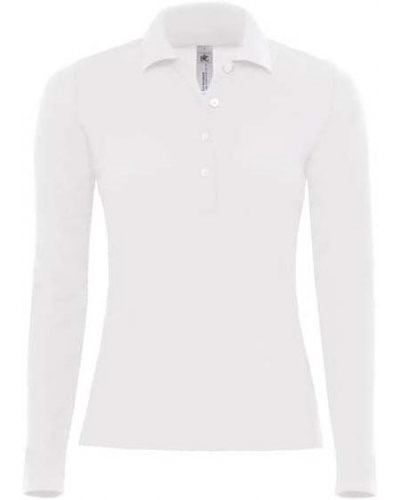 Women Long sleeved polo shirt 100% combed cotton, color white