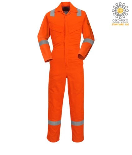 Antistatic overalls, light fire retardant, adjustable cuff with velcro, sleeve and knee pocket, reflective band on the bottom of the leg, sleeves and shoulders, certified 89/686/EE colour orange