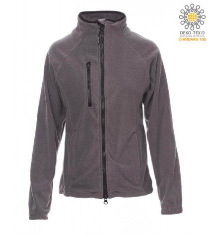 Long zip fleece for women with chest pocket and two pockets. Double slider zipper. Colour: grey