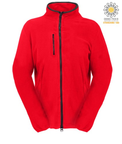 Long zip fleece for women with chest pocket and two pockets. Double slider zipper. Colour: red