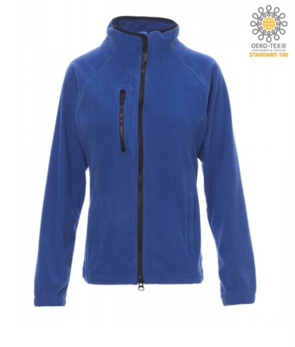 Long zip fleece for women with chest pocket and two pockets. Double slider zipper. Colour: royal blue