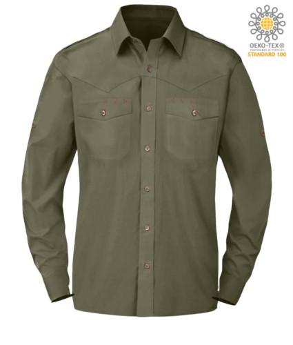 elegant men long sleeved shirt Green color button down