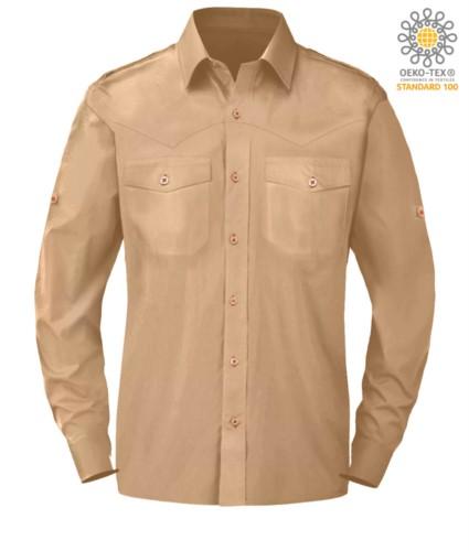 elegant men long sleeved shirt Beige color button down