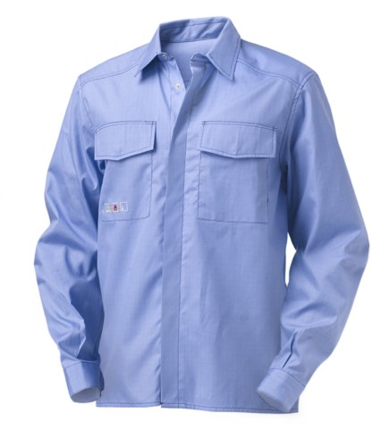Long-sleeved multipro shirt, two pockets, contrasting stitching, light blue, certified EN 1149-5, EN 13034, EN 11612:2009