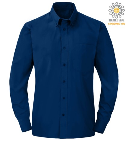 men long sleeved shirt in Blue polyester and cotton