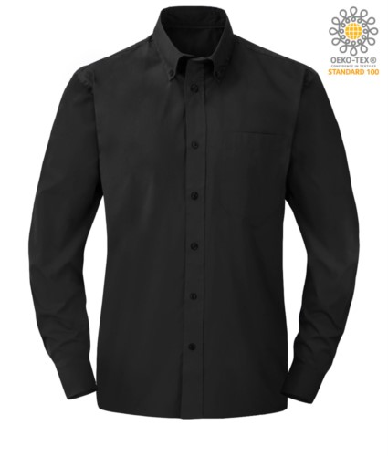 men long sleeved shirt in Black polyester and cotton