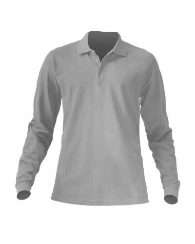 Long sleeved polo shirt 100% combed cotton, color grey