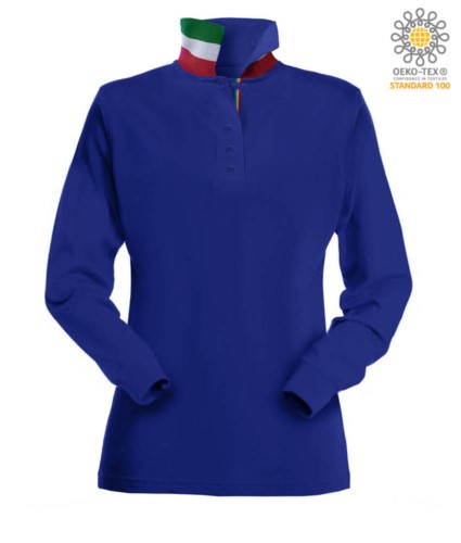 Long sleeved polo shirt with tricolour elements on the collar and the slit. Colour royal blue