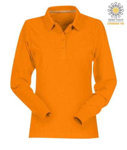 Women long sleeved cotton pique polo shirt in orange colour