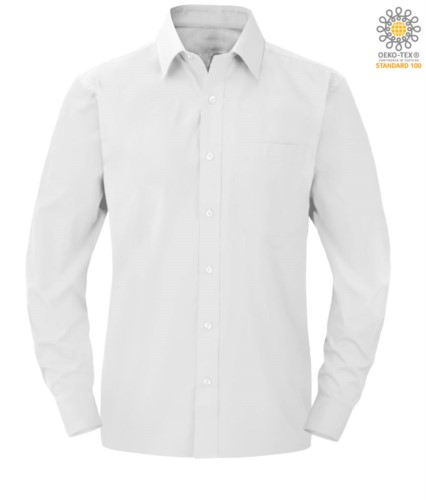 men long sleeved shirt in white polyester and cotton