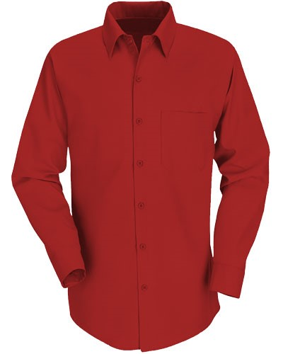 men long sleeved shirt in Red polyester and cotton