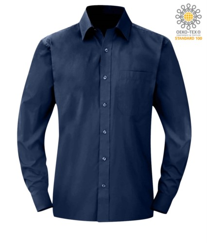 men long sleeved shirt Blu color for professional use