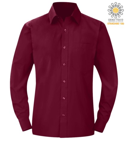 men long sleeved shirt Wine color for professional use