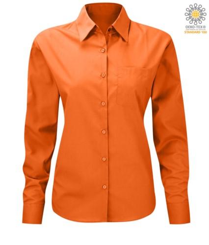 women long sleeved shirt for work uniform orange color