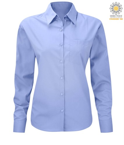 women long sleeved shirt for work uniform Bright Sky color