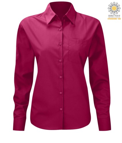 women long sleeved shirt for work uniform Fuchsia color