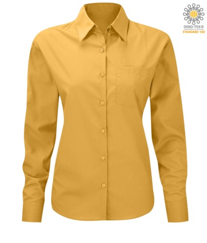 women long sleeved shirt for work uniform Yellow color
