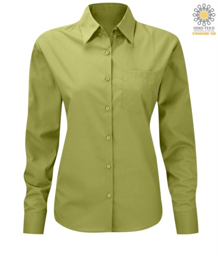 women long sleeved shirt for work uniform Lime color