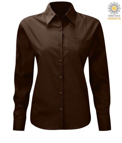 women long sleeved shirt for work uniform Brown color