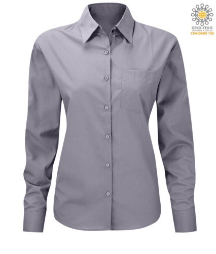 women long sleeved shirt for work uniform Light Gray color