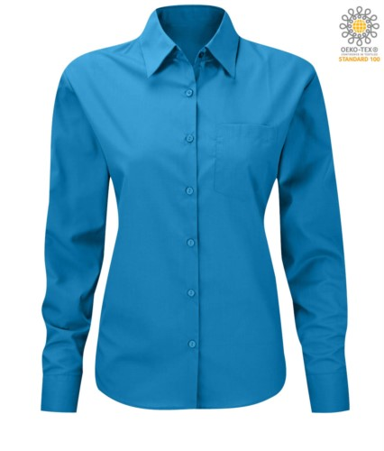 women long sleeved shirt for work uniform Turquoise color