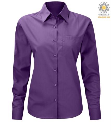 women long sleeved shirt for work uniform Purple color