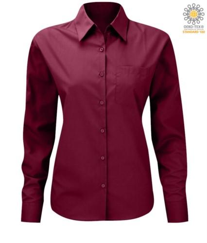 women long sleeved shirt for work uniform Wine color