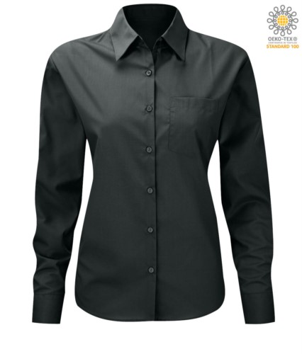 women long sleeved shirt for work uniform Dark Grey color
