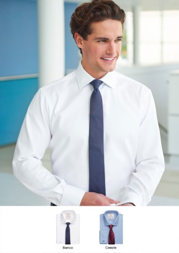 Elegant shirt with two tone stripes, polyester and cotton fabric, with easy iron features.