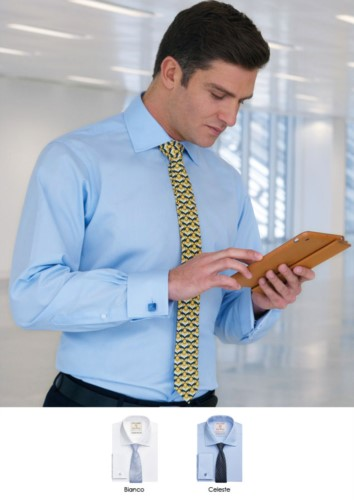 Classic fit shirt available in white and light blue. Polyester and cotton fabric, easy ironing.