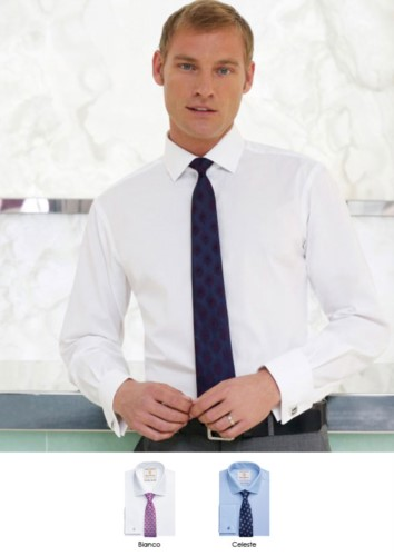 Long sleeve shirt with double cuff for cufflinks, 100% cotton, with easy ironing fabric.