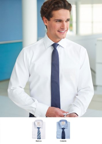 Elegant men shirt in easy to iron fabric, cotton and polyester. Available in White, Black, Light Blue, Lilac, Navy and Grey.