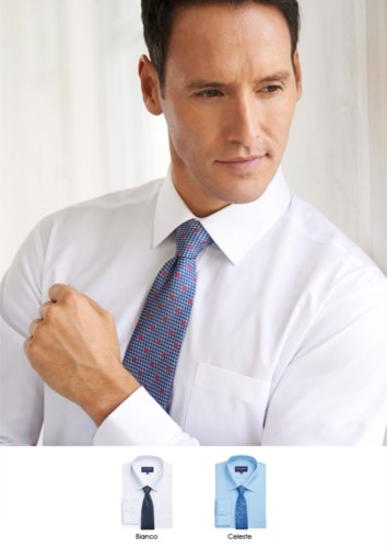 Polyester and cotton shirt with easy iron fabric, slim fit model. Single cuff for cufflinks.