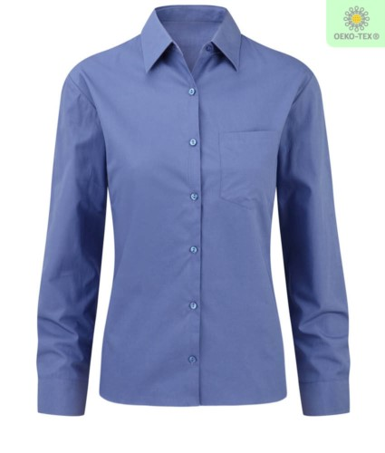 elegant shirt color Blue women 100% cotton
